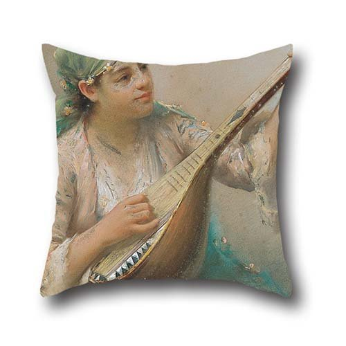 Oil Painting Fausto Zonaro - Woman Playing A String Instrument Pillowcover 20 X 20 Inches / 50 By 50 Cm For Bedroom,car Seat,bf,dance Room,birthday,indoor With Both Sides (Tardis Fridge Cover compare prices)