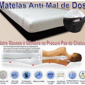 Matelas Mémoire de forme 80x200x21cm - idéal contre les douleurs dorsales 80x200