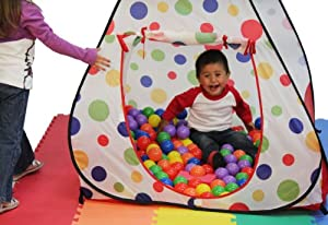 Jumbo Red Polka Dot Teepee Twist Play Tent w/ Tote Bag (Mats & Balls Sold Separately) by Wonder Tent