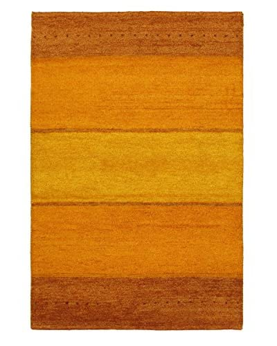 Hand-Knotted Indian Gabbeh Wool Rug, Gold, 4' x 6' 1