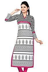 Karan Kurtis Womens Cotton Aline Kurta (Kurtis-0359-Xl_White)