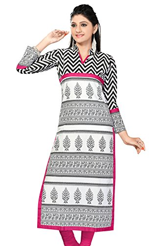 White and Black Long Pakistani Printed Kurtis