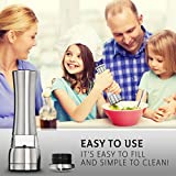Salt and Pepper Grinder Set - Stainless Steel w/ Ceramic Blade and Easy Twist Technology (2 units)