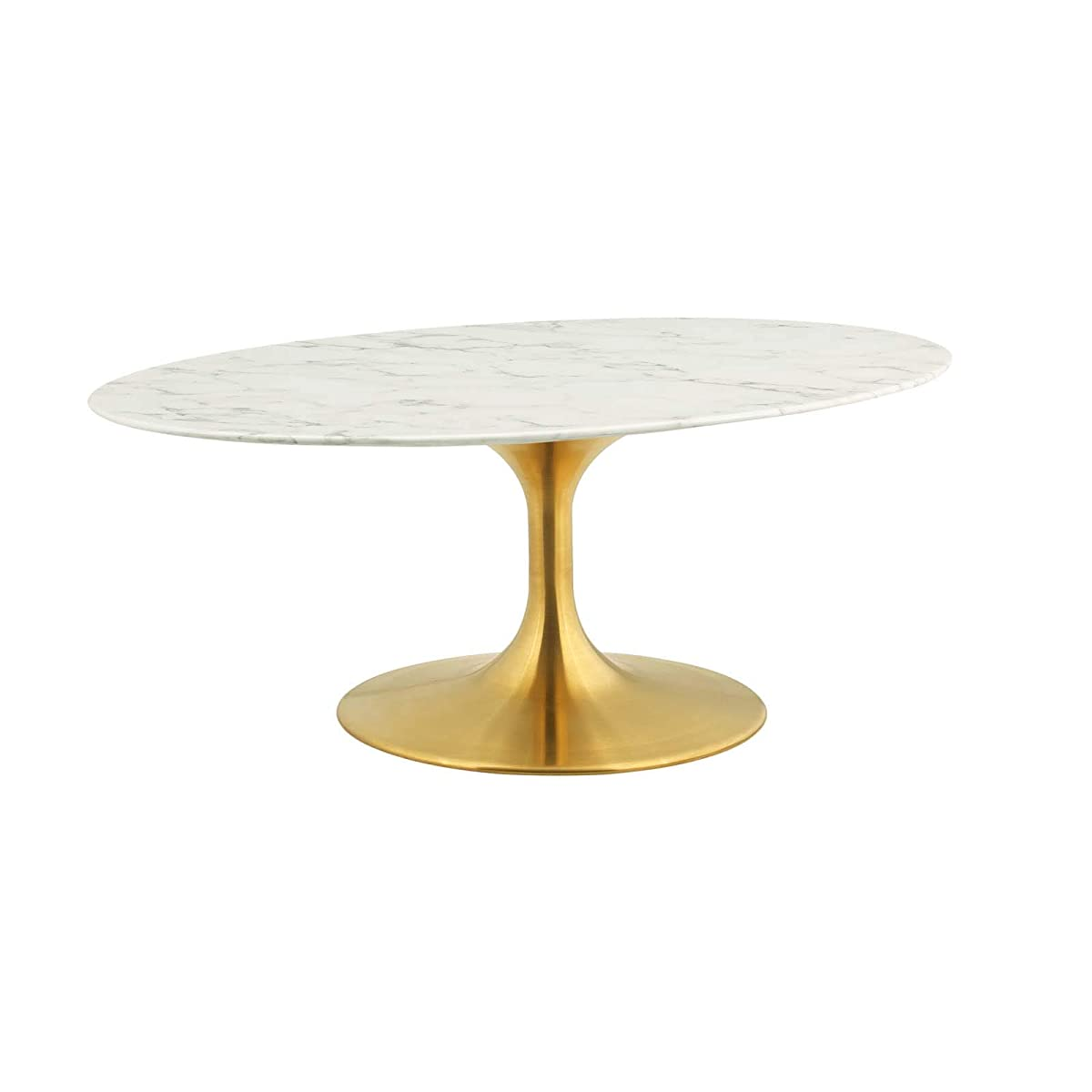 """Modway EEI-3249-GLD-WHI Lippa 42"""" Oval-Shaped Coffee Table Gold White"""