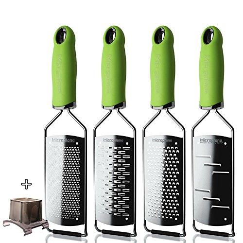 Microplane Reibenset fein-mittel-grob-Raspel-Fingerschutz Gourmet grün