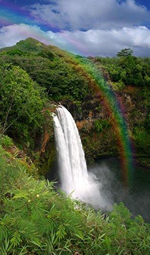 Wallmonkeys Waterfall in Kauai Hawaii with Rainbow Peel and Stick Wall Decals WM267017 (18 in H x 11 in W)