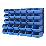 BiGDUG Plastic Bin Kit Wall Garage Storage Parts Bins Kit Tool Organiser Shelving (2 x Blue Bin Kit)