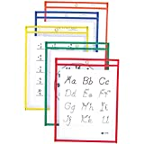 C-Line Reusable Dry Erase Pockets, 9 x 12 Inches, Assorted Primary Colors, 10 Pockets per Pack (40610)