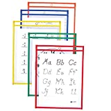 C-Line Reusable Dry Erase Pockets, 9 x 12 Inches, Assorted Primary Colors, 5 Pockets per Pack (40630)