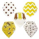 TruBambi Babero bandana para beb�s 5�unidades s�per absorbentes. Set de regalo para beb�s. Varios dise�os modernos. neutro