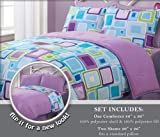 3 Pieces Reversible Purple, Blue, and Light Grey Geo Square Comforter and 2 ....