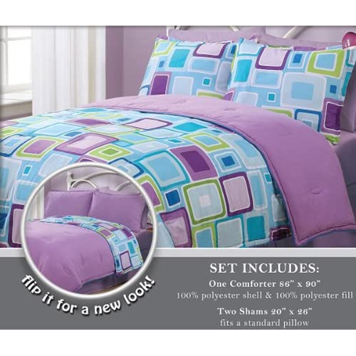3 pieces reversible purple blue and light - Purple and blue comforter sets ...