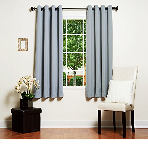 4 Piece Grommet Top Thermal Insulated Blackout 64-Inch Slate Grey Curtain Panel Pair, Contemporary Style, Energy Saving Design, Blackout Feature, Polyester Material, Solid Pattern, Sage Grey, Charcoal
