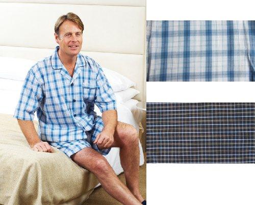 Mens Champion Poly Cotton Shorts Pyjamas Set LIGHT BLUE OR NAVY SIZES M-XL
