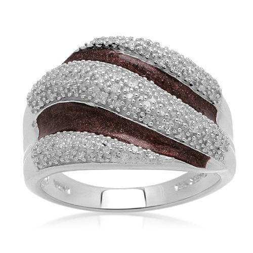 Sterling Silver Enamel Three Rows Diamond Ring (1/4 cttw, I-J Color, I2-I3 Clarity), Size 9