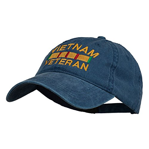 Vietnam Veteran Embroidered Pigment Dyed Brass Buckle Cap - Navy OSFM