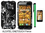 Alcatel One Touch Fierce 7024W (T-Mobile) Premium Pretty Design Protector Hard Cover Case + Screen Protector Film + 1 of New Metal Stylus Touch Screen Pen (Black Silver Butterfly Flower)