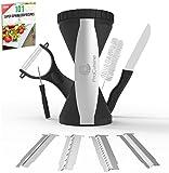 ProCuisine 4 Blade Vegetable Spiralizer Bundle - Knife, Peeler, 101 Recipe eBook, Gift Box, Spiral Slicer Julienne Cutter, Zucchini Spaghetti Noodle Maker