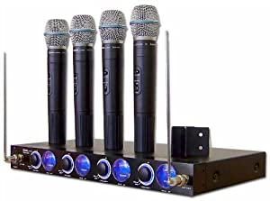 IDOLPRO VHF-638 4 CHANNEL PROFESSIONAL KARAOKE WIRELESS MICROPHONE SYSTEM