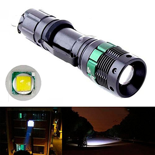 3000 Lumen Zoomable Cree Xm-l T6 LED Flashlight Torch Zoom Lamp Light Black
