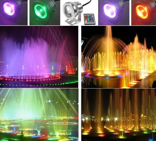 Lemonbest 16 Color Changing Led Pool Pond Fountain Lamp, 10W 12V Rgb Underwater Light With Ir Remote, 2 Sets (Usa Shipping)