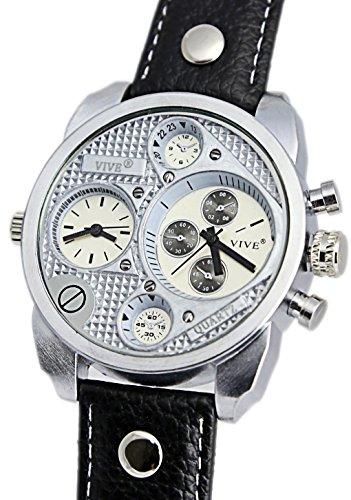 VIVE® Banger Dualtime Chronograph for Men Double Temps Zwei Zonen Navigator Herrenuhr XL Atlas Modell mit 2 Uhrwerken Weltzeituhr Schwarz Silber mit Lederarmband
