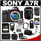 Sony Alpha A7R Digital Camera Body with Sonnar T* FE 55mm f/1.8 ZA Lens + 64GB Card + Case + Flash + Battery/Charger + Tripod Kit
