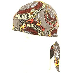 Fitted Bandana Du Rag Wrap Headwrap Ride the Wind Gray