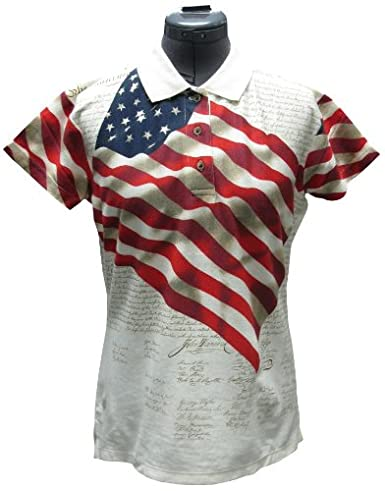 Allover Patriotic Polo Shirt for Women