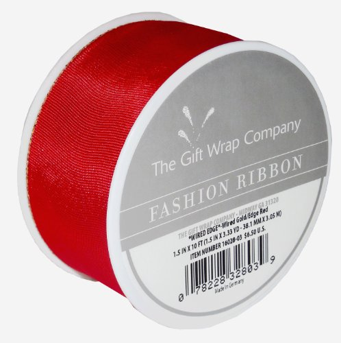 The Gift Wrap Company 1 7/16-Inch Wired Gold Edge Satin Ribbon, Red (16028-03) (The Gift Wrapping Company compare prices)