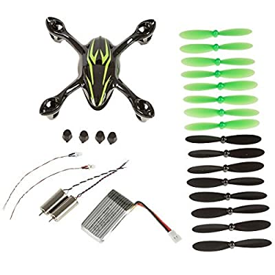 Hubsan Crash Pack for X4 H107C Quadcopter, Includes Body Shell, 8x Pair of Black and Green Propellers, Flight Battery, 4x Rubber Feet, 2x Motors, Black/Green (Black+Green) from Hubsan