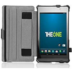 TheONE Google Nexus 7 2013 Case - [Lightweight] [Ultra-slim] PU Leather Slim-Fit multi-angle Cover Stand Folio Case for Google Nexus 7 2nd Gen 2013-BLACK