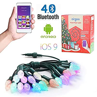 Airgoo® 25 LEDs 25ft Lovely Strawberry Shape Multi-Color Changing Smartphone Control Waterproof LED String Lights Outdoor for Party Holiday or Home Indoor Decoration and for more effects with an App on your Smartphone