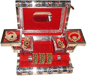 Jewellery Box, Jewelary Box, Jewellary Box, Jewelary Vanity Box in White Metal Good for Personnel Use and Gift (Red)
