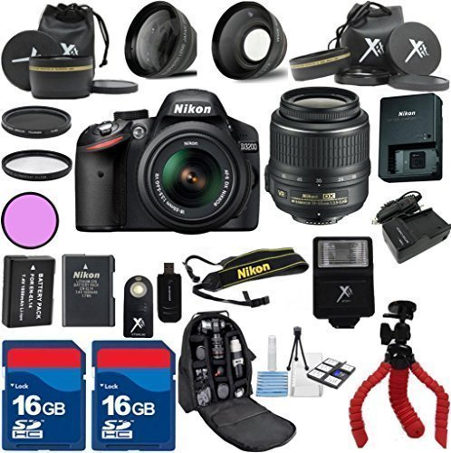 Nikon-D3200-Black-Camera-with-Nikon-18-55mm-VR-Lens-Als-Variety-Premium-Bundle-with-Deluxe-Backpack-XIT-3Pc-Filter-Kit-XIT-Wide-Angle-Lens-XIT-Telephoto-Lens-Spider-Flexible-Tripod-Extra-High-Capacity