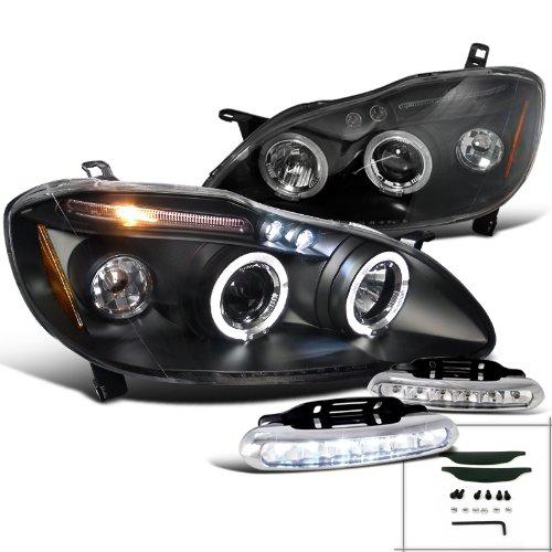 Toyota Corolla Sedan 4Dr LED Black Projector Headlights+DRL LED Bumper Fog Lamp (Corolla 04 Back Bumper compare prices)