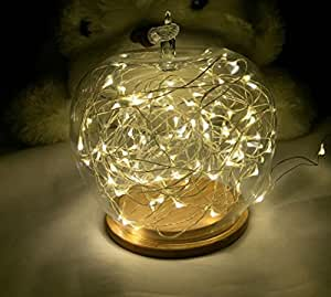 Amazon.com : String Lights, 2 Set of Micro 30 LEDs Super Bright Warm White Color Wire Rope ...