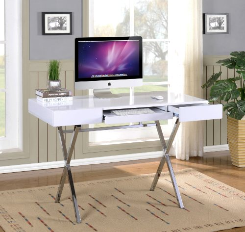 Kings Brand Furniture Contemporary Style Home & Office Desk, White/Chrome
