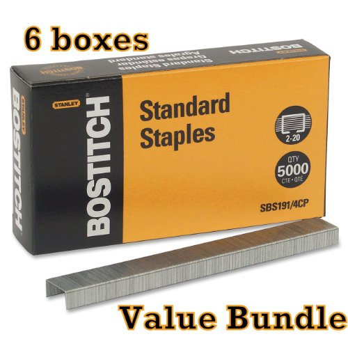 value-pack-of-6-stanley-bostitch-premium-standard-staples-1-4-inch-silver-5000-per-box-sbs191-4cp