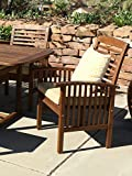 WE Furniture Acacia Wood Patio Chairs (Set of 2), Brown
