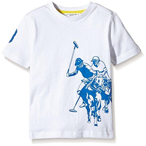 U.S. Polo Assn. - T-Shirt Maniche Corte Dbl Horse Ss, Unisex Bambino, Bianco (100), 6