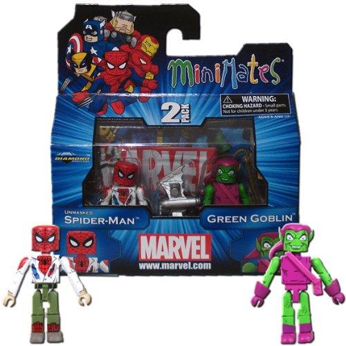 Marvel Minimates Series 41 Mini Figure 2Pack Unmasked SpiderMan Green Goblin (Marvel Minimates Green Goblin compare prices)