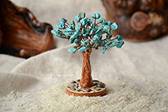 Natural Handmade Interior Gemstone Bonsai with Turquoise Home Decorating Ideas