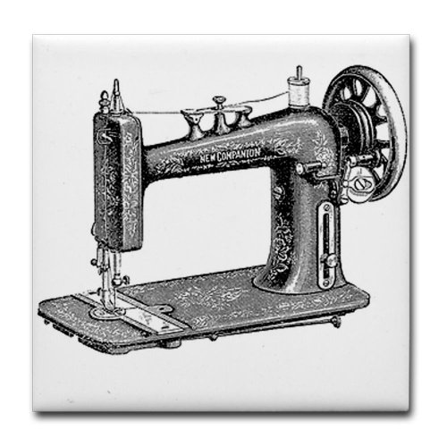 CafePress - Vintage Sewing Machine Tile Coaster - Tile Coaster, Drink Coaster, Small Trivet (Quilting Sewing Maching compare prices)
