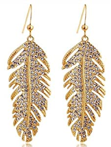 Women's 18K Gold Bohemian Large Leather Drop Earrings With Swarovski Elements Crystal Free Gift Pouch and Box