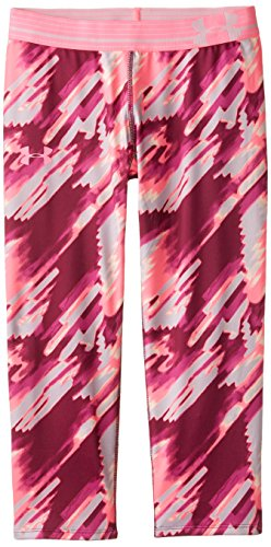 Girls' Under Armour HeatGear Armour Printed Capri, Beet (569), Youth X-Small