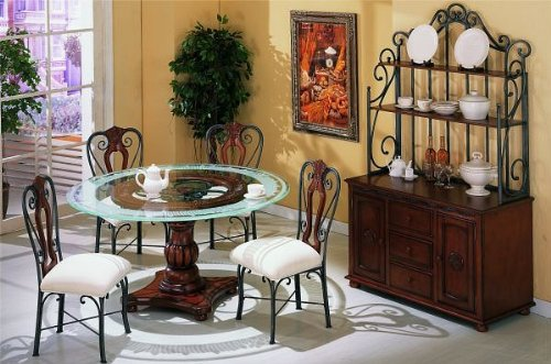 Cheap 5 pc metal and glass dining table set with frosted glass top and wood base (VF_DINSET-F2197-F1096)