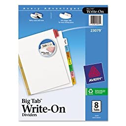 AVERY 23079 Big Tab Write-On Dividers w/Erasable Laminated Tabs, Clear, Set of 8