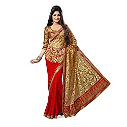 Apka Apna Fashion Red And Gold Embroidery Geogrette Fablous Saree With Blouse