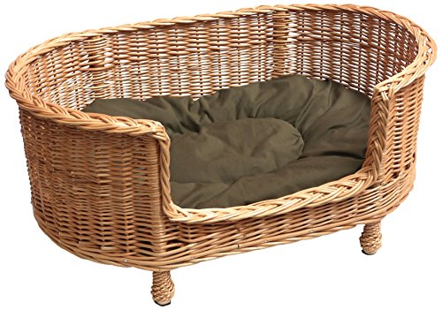 Prestige Wicker Luxury Willow Dog Basket Settee with Cushion
